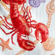 Lobster decoration in front of seafood restaurant. — Stock Photo #6119738