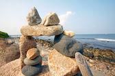 Sunset view of rocky Rhode Island sea shore. — Stock Photo