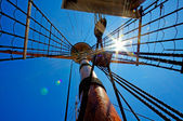 View of mast and rigging on the tall sail ship. — Stock Photo