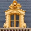 Medieval Royal Palace window in the golden frame. — Stock Photo