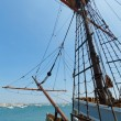 View of mast and rigging on the tall sail ship. - Stock Photo