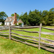 Foto Stock: Ancient wooden fence on farm.