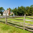 Stockfoto: Ancient wooden fence on farm.