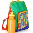 Colorful preschooler backpack and water container — Stock Photo