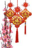 Chinese new year traditional ornaments and plum blossom — Stock Photo