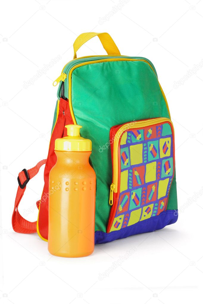 Colorful preschooler backpack and plastic water container on white background — Stock Photo #6083197