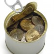 US coins in open tin can — Stock Photo #6136720