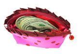 US dollars in lady's pink purse — Stock Photo