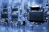 Abstract blue electronic circuit board — Stock Photo