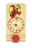 Toy wooden adjustable clock on wheels — Стоковое фото