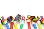 Colorful party blowers border — Stock Photo