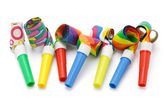 Colorful party blowers — Stock Photo