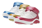 Row of colorful basketball trainers — Stock Photo