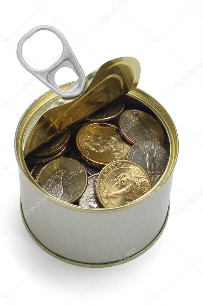 US coins in open tin can on white background  Stock Photo #6136720