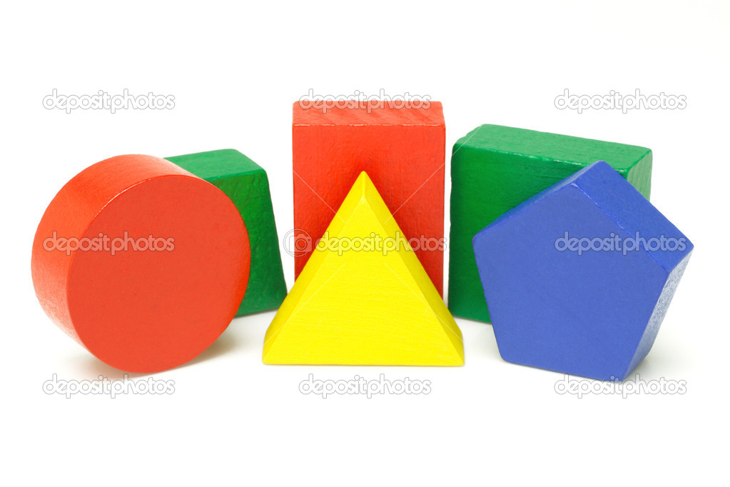Colorful wooden geometric blocks on white background — Stock Photo #6139675