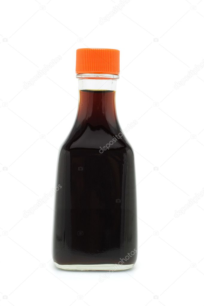 Bottle of soy sauce on white background — Stock Photo #6144126