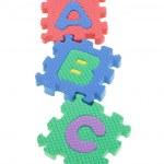 Colorful puzzle blocks A B C — Stock Photo