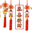 Stock Photo: Chinese new year prosperity figurines and auspicious greetings