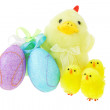 Easter eggs and yellow chicks — Stock Photo