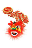 Chinese lion head and fire crackers ornaments — Stock Photo