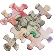Jigsaw puzzles and world major currencies — Stock Photo