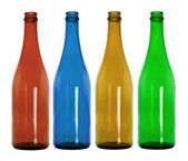 Empty colorful glass bottles — Stock Photo
