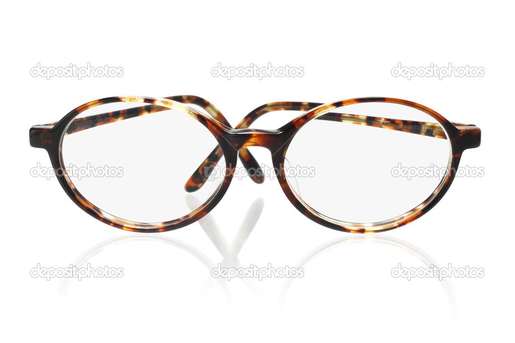 Old fashion plastic frame eyeglasses on white background — Stock Photo #6169084