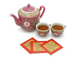 Chinese longevity tea set and red packets — Stock Photo