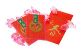 Chinese New Year red packets with plum blossom — Stock Photo