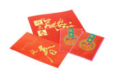 Chinese New Year card and red packets — Stock Photo