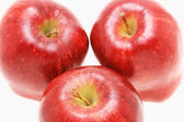 Three fresh red apples — Stock Photo