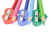 Renkli kalemler ve bileme makineleri — Stok fotoğraf