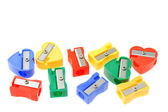 Colorful pencil sharpeners — Stock Photo
