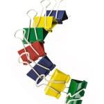 Colorful crocodile paper clips — Stock Photo