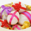 Decorated Easter eggs in a bowl — Stock Photo