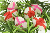 Decorated egg shaped stones for Easter — Stock Photo