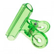 Green plastic paper clip — Stock Photo