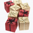 Color gift boxes with bow ribbons — Stock Photo