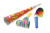 Colorful party horn and blowers — Stock Photo