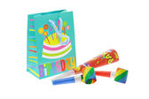 Colorful gift bag and party blowers — Stock Photo