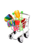 Party novelties in mini shopping cart — Stock Photo