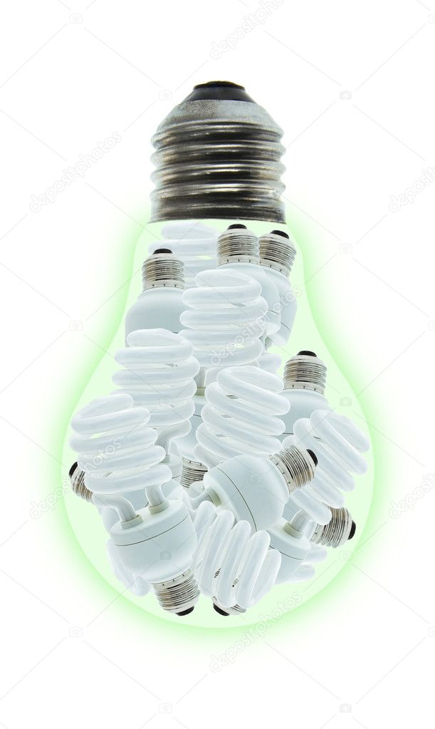 Conceptual image of a group of energy saving light bulbs inside incandescent bulb on white — Stock Photo #6539412