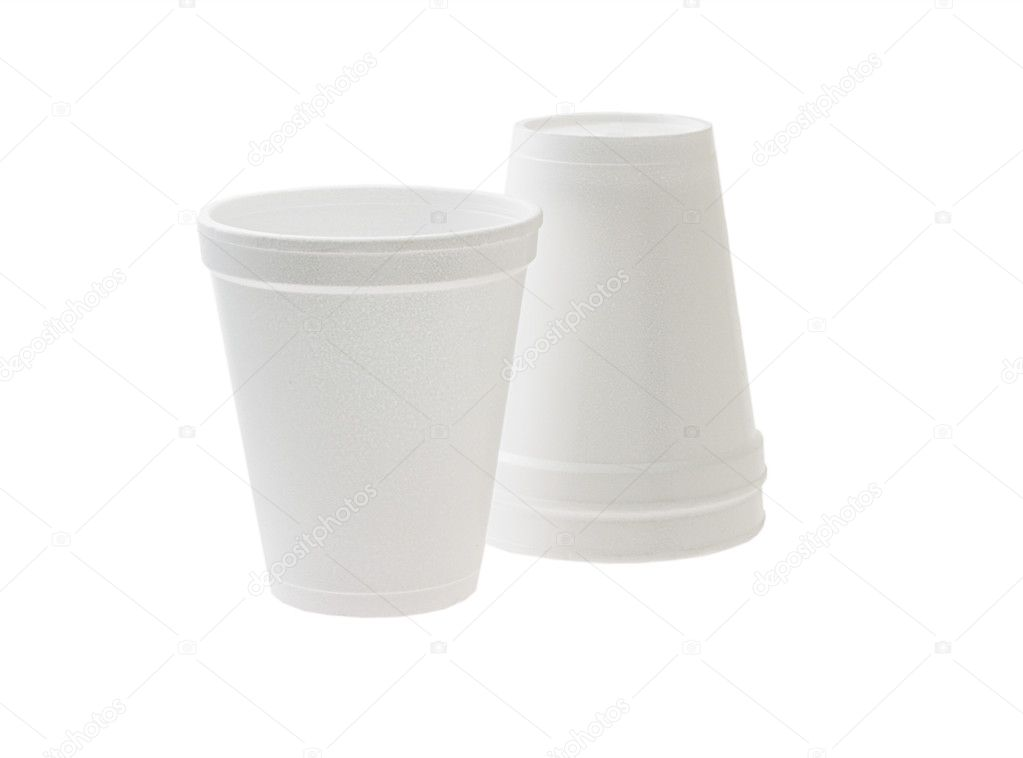 Disposable styrofoam cups on white background — Stock Photo #6542198