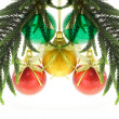 Christmas baubles and pine leaves — Stock Photo