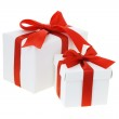 Gift boxes with red bow ribbons — Stock Photo #6587819