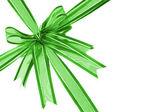 Green decorative bow ribbon — Stock Photo