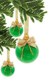 Green Christmas baubles — Stock Photo