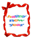 Happy New Year in bow ribbons border — Stock Photo