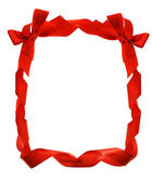 Red bow ribbons border — Stock Photo