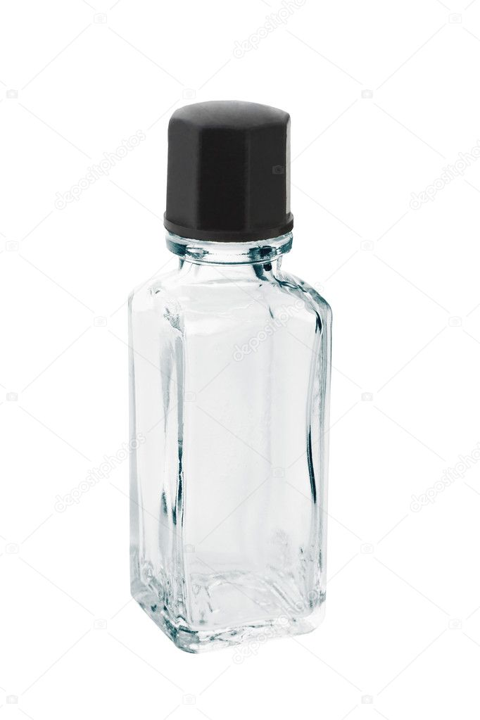 Mini empty glass bottle on white background — Stock Photo #6587883